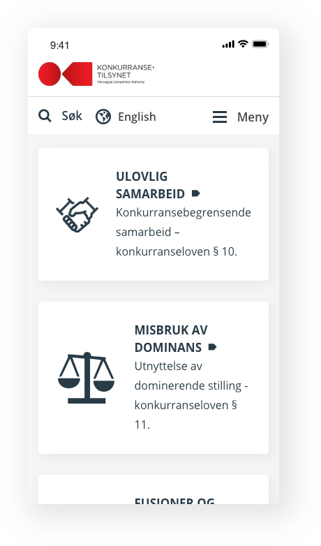 The Norwegian Competition Authority mobile display